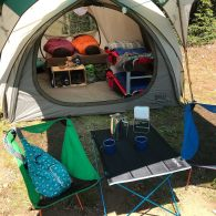 Staged tent