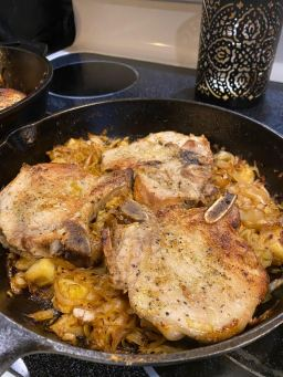 Pork chops and cabbage