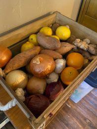 Potatoes and lemons and onions