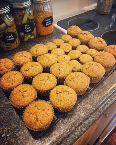 Banana sourdough muffins