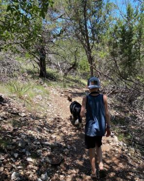 Ethan and Mutzi on trail