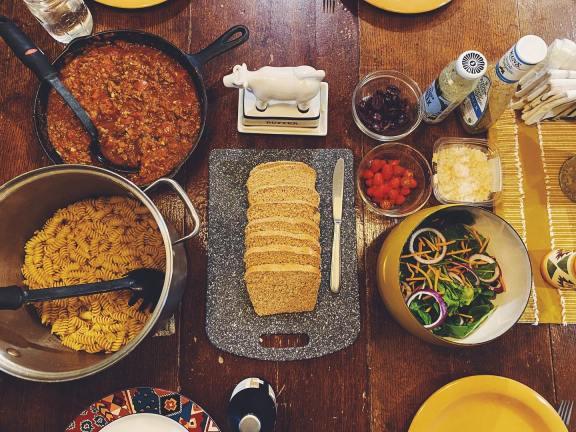 Pasta and homemade sauce
